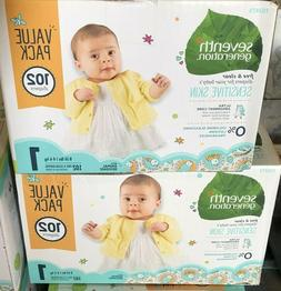 2-Boxes Seventh Generation Free & Clear Disposable Baby Diap