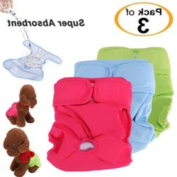 3Pack Reusable Washable Dog Diapers - Super Absorbent & Leak