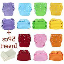 5 PCS Cloth Diapers + Inserts Nappies One Size Adjustable Fo