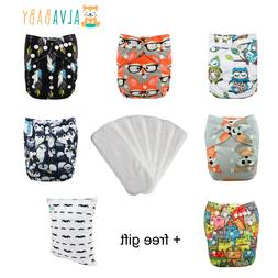 6 ALVA Baby Cloth Diapers + 6 Inserts One Size Reusable Wash