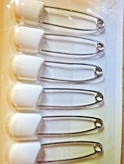 6 Pack Large Nappy Pins Terry Nappies Pin Baby Diaper White