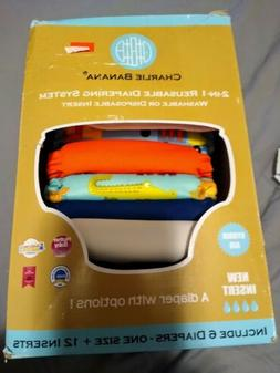 Charlie Banana AIO Cloth Diapers NEW 6 diapers 12 Inserts +1