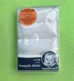 Gerber Baby and Infant 4Pk Pre fold Cotton Cloth Diapers Whi