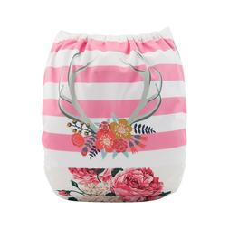 ALVABABY Cloth Diaper Girl One Size Reusable Washable Pocket
