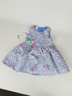 Carter's Baby Girl Violet Floral Sateen Dress NWT New w/ Dia