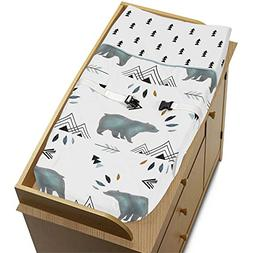 Sweet Jojo Diaper Changing Table Pad Cover for Blue Bear Mou