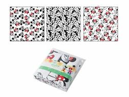 Disney Minnie Mouse Set of 3 Nappy Cotton Fabric Flannel Bab