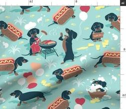 Dog Barbecue Lemonade Dachshund Hot Dogs Fabric Printed by S