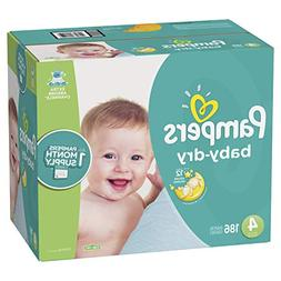 Pampers Baby Dry Disposable Baby Diapers, Size 4, 186 Count,