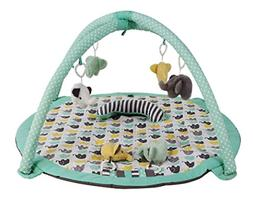 Bacati Elephants Unisex Activity Gym with Mat, Mint/Yellow/G
