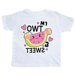 Inktastic I'm Two And Sweet With Cute Watermelon Toddler T-S