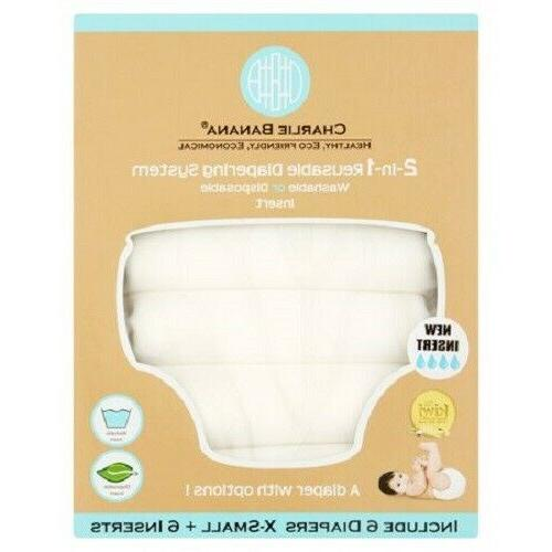 Charlie 2-in-1 Reusable Diapering System, 6 and White