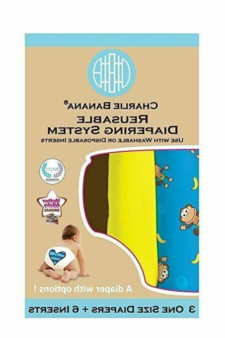 Charlie Banana Diapering Diapers + 6 Inserts, Size