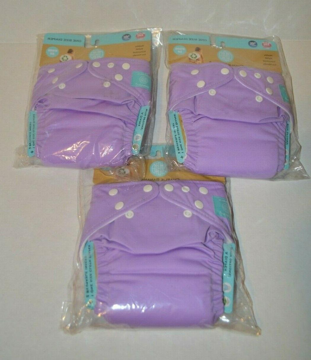 3 diapers 6 inserts unisex lavender one