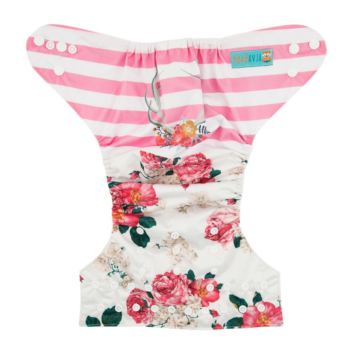 ALVABABY Cloth Diaper Girl One Reusable Washable Pocket Nappy +1