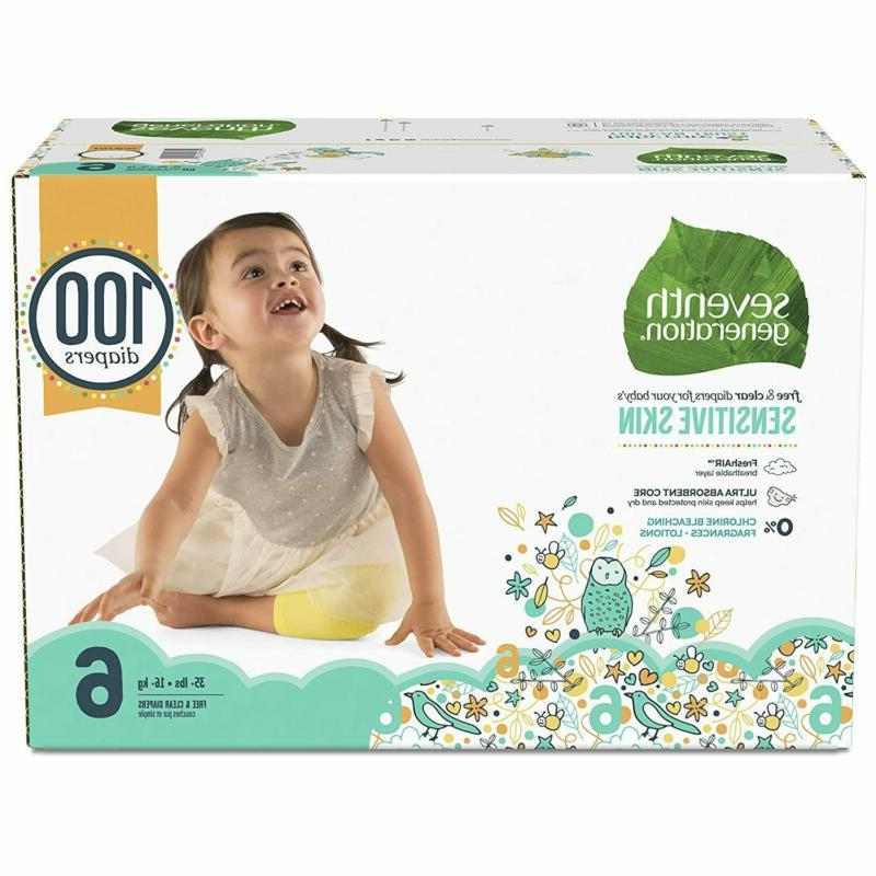 Seventh Generation Diapers For Skin, Prints, 6, 100 C