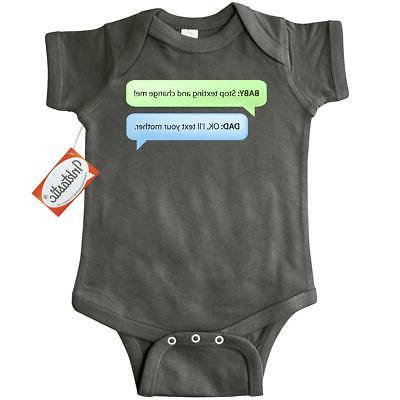 baby texting dad infant creeper father cell