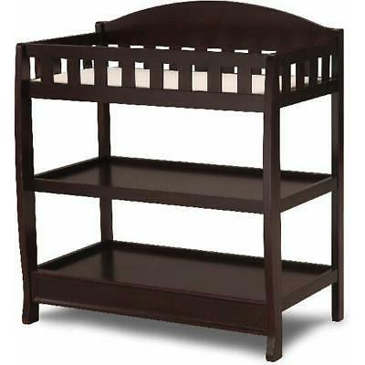Brown Changing Table with Pad Child Baby Infant Diaper Nurse