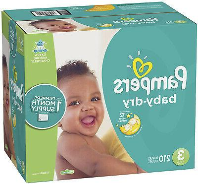 diapers size 3 210 count baby dry