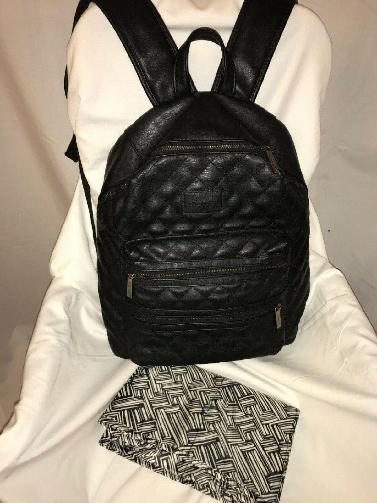 "Honest Co City Backpack Quilted Black Faux Leather 17""H x 1/4""D"