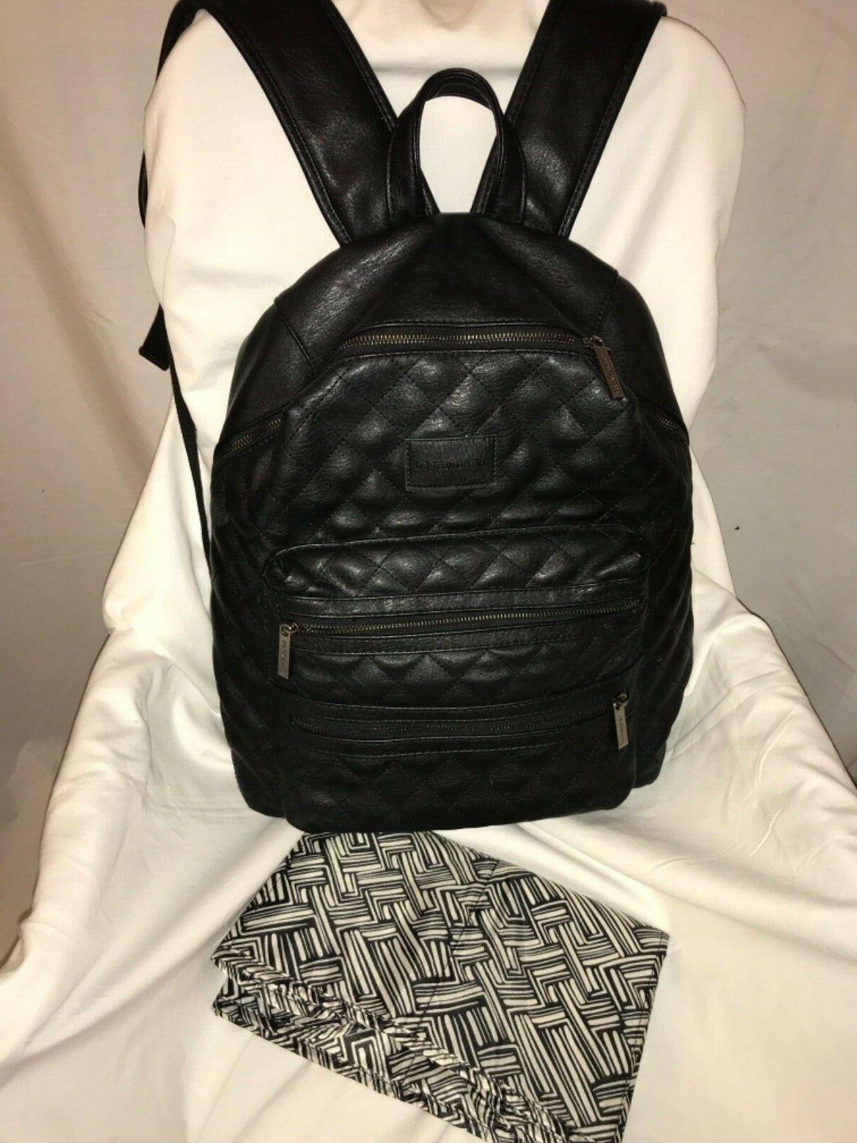 honest co city backpack quilted black faux