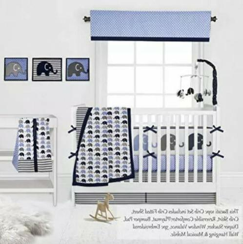 Navy 10 pcs Baby Nursery Quilt Mobile Diaper