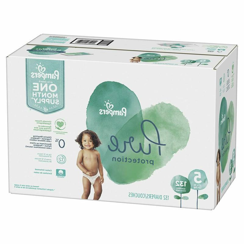 Size 5, 132 Count - Pampers Pure Disposable Baby Diapers, Hy