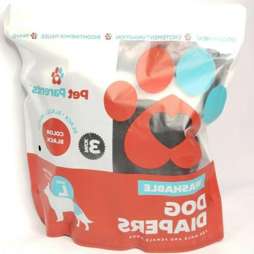 Pet Washable Dog Diapers Black Male Female Large