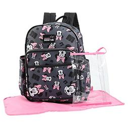 Disney Minnie Mouse Toss Head Print Backpack Diaper Bag, Gre