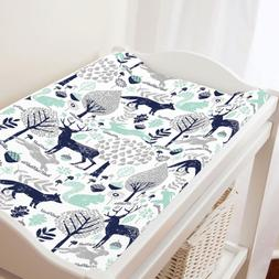 Carousel Designs Navy and Mint Woodland Animals Changing Pad