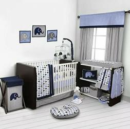 Navy Gray Elephant 10 pcs Crib Bedding Set Baby Boy Nursery