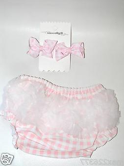 NEW BABY GIFT SET Diaper Covers Baby Bloomers and 2 bows pin