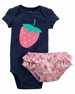 New Carters Strawberry Bodysuit & Diaper Cover Set 3 6 12 18