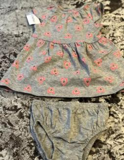 NWT BABY GIRL CARTER'S DRESS AND DIAPER COVER SIZE 6 MONTH