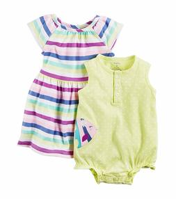 NWT Carter's® Girls 3-Pc Fish Romper and Stripe Dress with