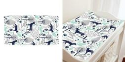 Organic Carousel Designs Navy and Mint Woodland Animals Cott