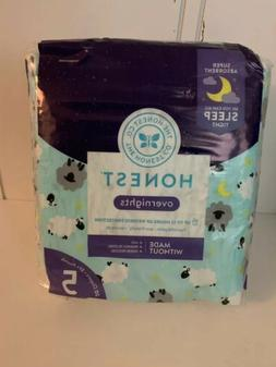 Honest Overnight Sleepy Sheep Diapers, Size 5, 20 Count