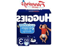 HUGGIES OverNites Diapers, Size 3, 80 Count, Overnight Diape