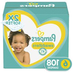 Pampers Swaddlers Soft and Absorbent Diapers, Size 6, 108 Ct