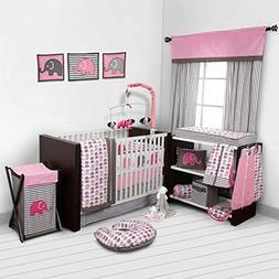 Pink Gray Elephant 10 pcs Crib Bedding Set Baby Girl Nursery