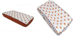 Bacati Playful Foxs Changing Pad Cover Cotton Percale Fabric