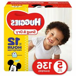 HUGGIES Snug & Dry Diapers, Size 5, 136 Count