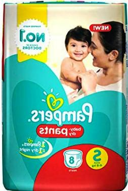 Pampers Stylish Baby Diapers Dry Pants Small -8 pcs count.
