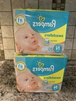 Pampers Swaddlers 2 Packs of 20 Size Newborn Diapers Fits up