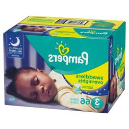 Pampers Swaddlers Overnights Disposable Diapers Size 3, 4, 5