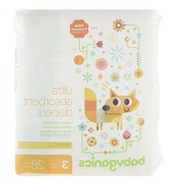 BabyGanics  Ultra Absorbent Diapers  Size 3  16-28 lbs  7-13