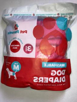 Pet Parents Washable Dog Diapers 3-pack  Black Fits Male and